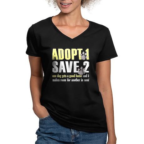 Adopt 1 Save 2 dog Dark T.png Women's V-Neck Dark