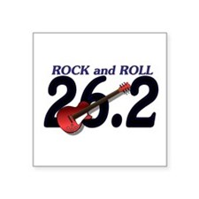 "Rock and Roll MArathon Square Sticker 3"" x 3"""