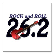 "Rock and Roll MArathon Square Car Magnet 3"" x 3"""