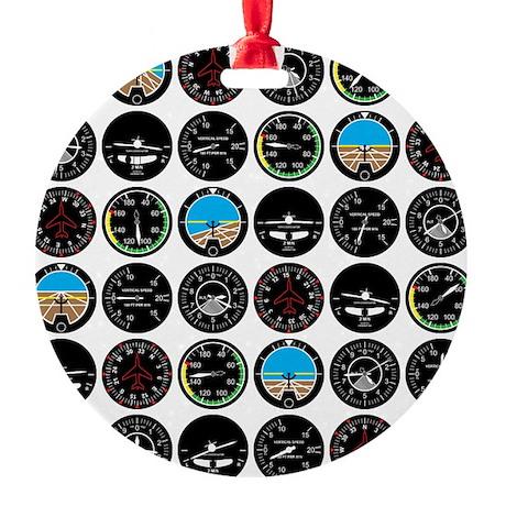 Flight Instruments Round Ornament