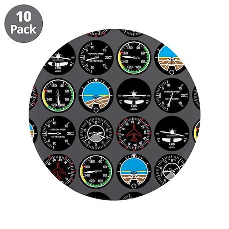 "Flight Instruments 3.5"" Button (10 pack)"