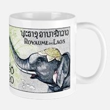 Laos Elephant Profile Stamp 1958 Mug