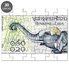 Laos Elephant Profile Stamp 1958 Puzzle