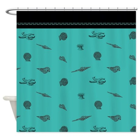 modern turquoise seashell shower curtain