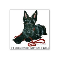 "Scottish Terrier Rescue Me Square Sticker 3"" x 3"""