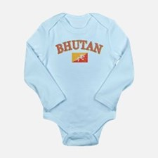 Bhutan Flag Designs Long Sleeve Infant Bodysuit