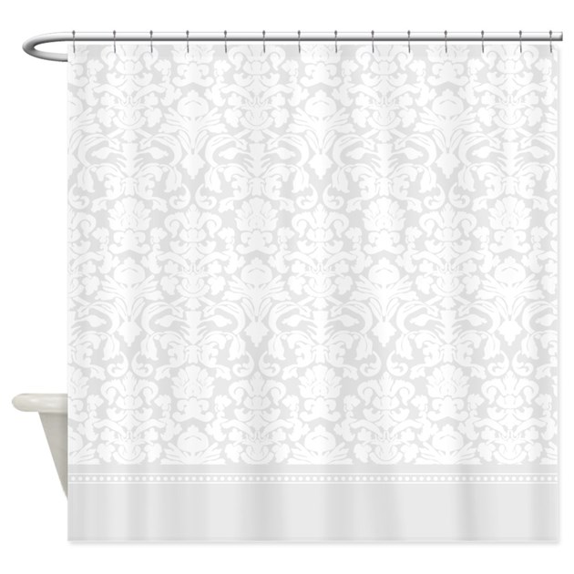 Cafe Au Lait Bedroom With Damask Wallpaper: Grey Damask Shower Curtain By InspirationzStore