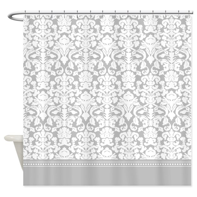 Cafe Au Lait Bedroom With Damask Wallpaper: Gray Damask Shower Curtain By InspirationzStore