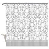 Grey and white damask Shower Curtains