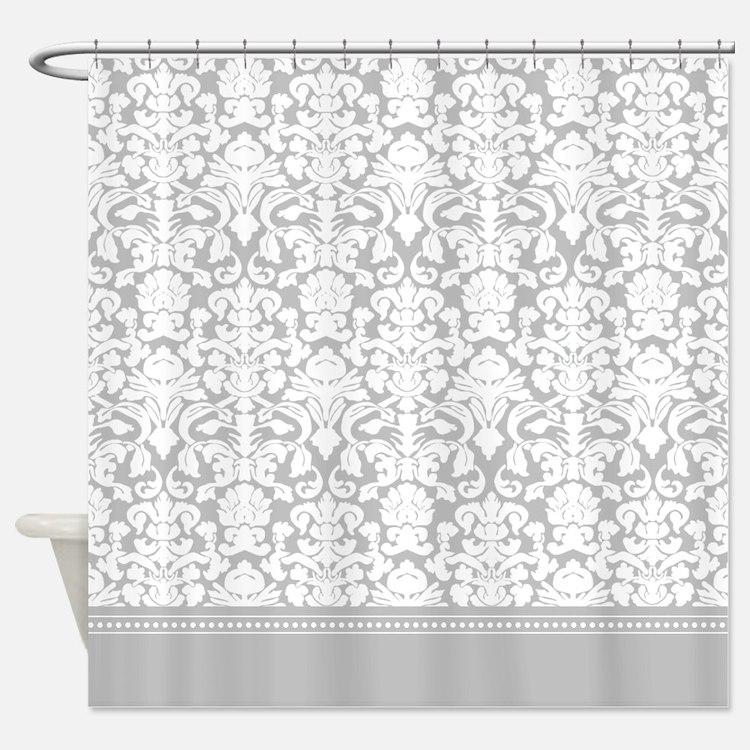 Gray Damask Shower Curtain