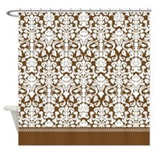 Brown Damask Shower Curtain
