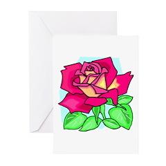 Deep Pink Rose Greeting Cards (Pk of 10)