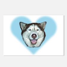 """Blue Heart Husky"" Postcards (Pkg of 8)"