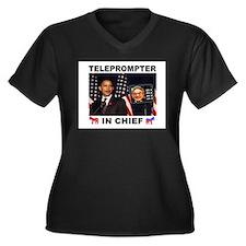 TELEPROMPTER Women's Plus Size V-Neck Dark T-Shirt