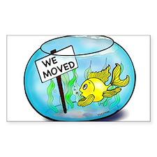 We've Moved funny cute goldfish fish tank cartoon