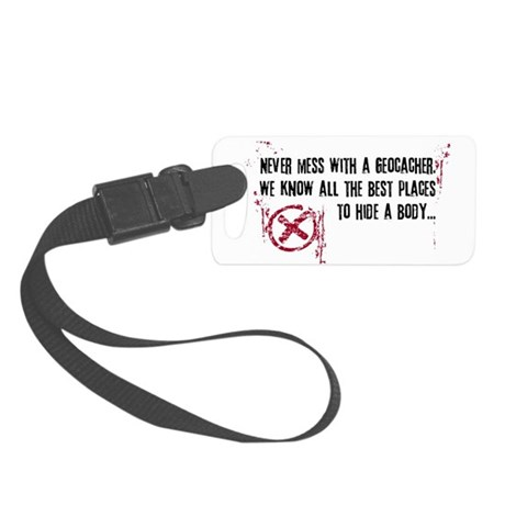 Geocaching - never mess dark red Small Luggage Tag