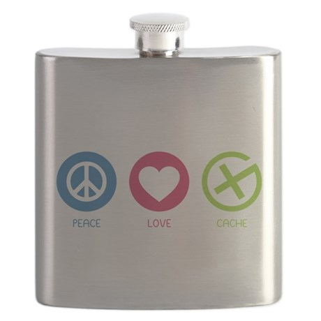 Geocaching PEACE LOVE CACHE Flask