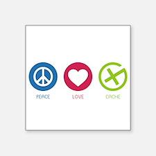 "Geocaching PEACE LOVE CACHE Square Sticker 3"" x 3"""