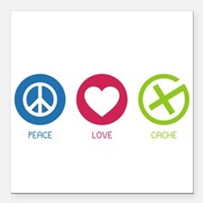 "Geocaching PEACE LOVE CACHE Square Car Magnet 3"" x"