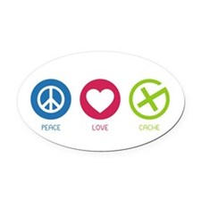 Geocaching PEACE LOVE CACHE Oval Car Magnet