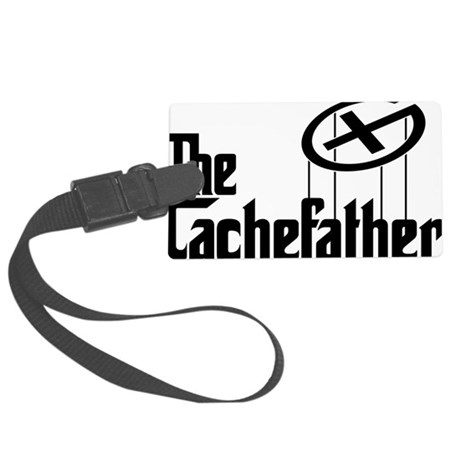 Geocaching THE CACHEFATHER black Large Luggage Tag