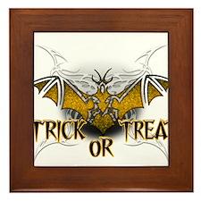 Trick or Treat Bat.png Framed Tile