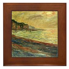 Monet Beach at Pourville Framed Tile