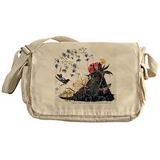 Scottish Terrier and Hummingbird Messenger Bag