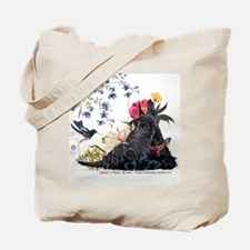 Scottish Terrier and Hummingbird Tote Bag