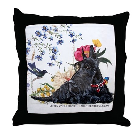 Scottish Terrier and Hummingbird Throw Pillow