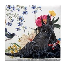Scottish Terrier and Hummingbird Tile Coaster