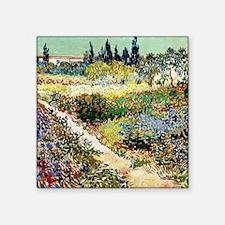 "Van Gogh Garden At Arles Square Sticker 3"" x 3"""