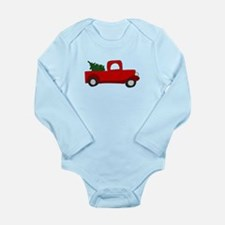 Red Truck with Tree Long Sleeve Infant Bodysuit
