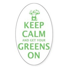 Keep calm in green Sticker (Oval)