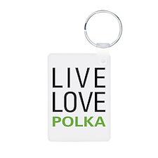 Live Love Polka Aluminum Photo Keychain