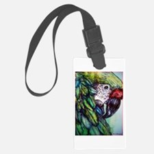 Green Macaw! Parrot art! Luggage Tag