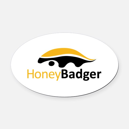 Honey Badger Logo Oval Car Magnet