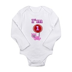 Im 1 Year Old Kitty Long Sleeve Infant Bodysuit