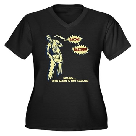 Zombie Bacon Women's Plus Size V-Neck Dark T-Shirt