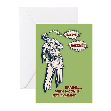 Zombie Bacon Greeting Cards (Pk of 10)