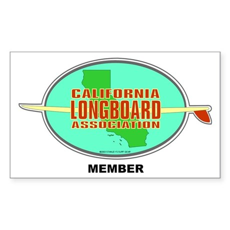 Cal Longboard Rectangle Sticker