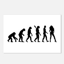 Evolution sexy woman Postcards (Package of 8)