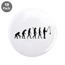 "Evolution fishing man 3.5"" Button (10 pack)"