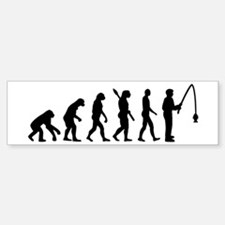 Evolution fishing man Bumper Bumper Sticker