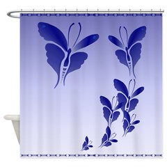 Shower Curtain Blue Butterfly Shower Curtain