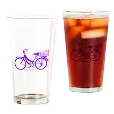 Purple Bike with Basket Drinking Glass