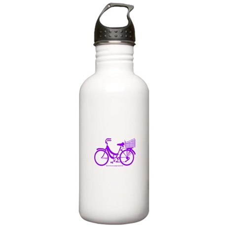 Purple Bike with Basket Stainless Water Bottle 1.0