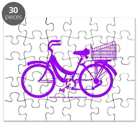 Purple Bike with Basket Puzzle