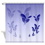 Shower Curtain Blue Butterfly shadowed Shower Curt