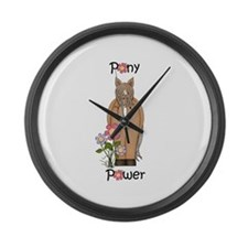 Pony Power Horse Pink Large Wall Clock